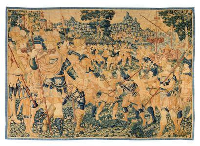 Panneau de tapisserie détourée , Audenarde ( Flandres ) milieu XVIème siècle Débarquement...