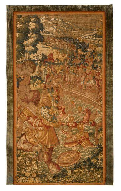 Très beau panneau de tapisserie détouré de...