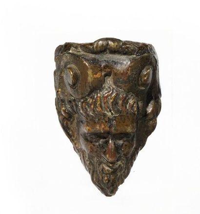 Tête de Silène en bronze à patine brune Probablement...