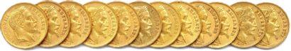 NAPOLÉON III Lot de douze pièces or 20 francs (tête laurée) : 1867 Paris (3 ex.),...