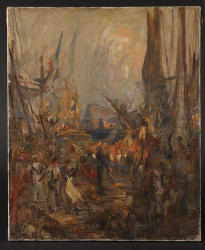 CHARLES FOUQUERAY (1869-1956) Arrivée de...