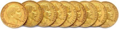 NAPOLÉON III 1852-1870 Lot de neuf pièces...