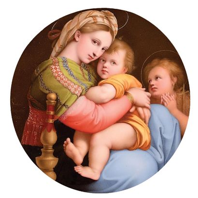 """SÈVRES Plateau of the lunch """"Heads of Madonnas after Raphael"""" 2nd size in hard porcelain..."""