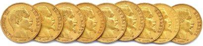 NAPOLÉON III Lot de neuf pièces or 20 francs...