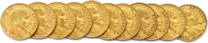 NAPOLÉON III Lot de onze pièces or 20 francs...