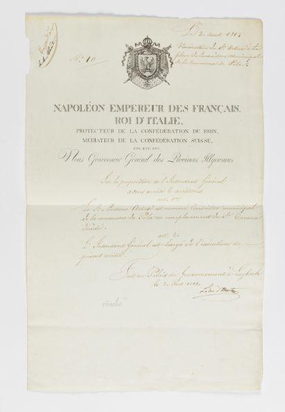 FOUCHÉ (JOSEPH). Pièce signée « Le duc d'Otrante...