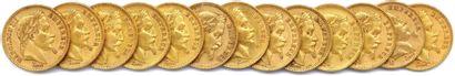 NAPOLÉON III Lot de treize pièces or 20 Francs...