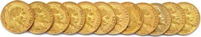 NAPOLÉON III Lot de douze pièces or 20 Francs...