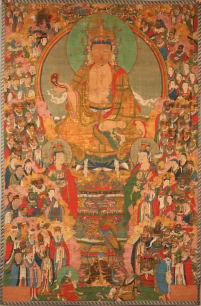 TANKA peint sur papier entoilé représentant Bouddha assis sur un lotus devant une...