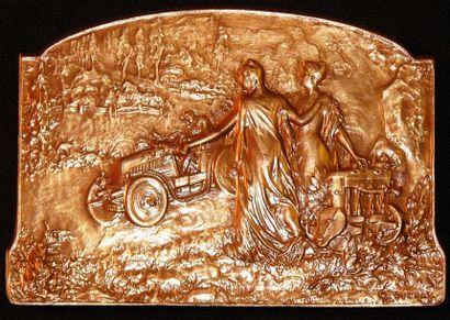 Belle plaque en bronze représentant une Automobile...
