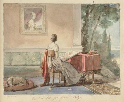 [COCHELET Louise] Album amicorum. Sans lieu, autour de 1810; in-4 à l'italienne de...