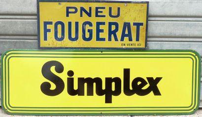 Lot comprenant une plaque émaillée Simplex...