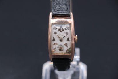 WALTHAM Premier, franc-maçonnique N°470723, circa 1930 Montre-bracelet en plaquée...