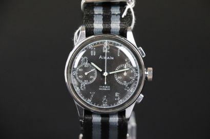 AIRAIN valjoux 22. Vers 1950. Montre-bracelet...