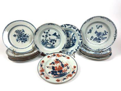 CHINE Ensemble de quinze assiettes plates...
