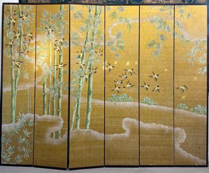 JAPON Paravent à six volets en soie peinte...