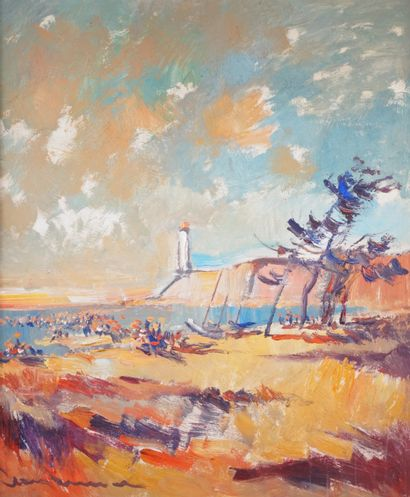 JEAN BRENNER (1937-2009) La plage Huile sur...