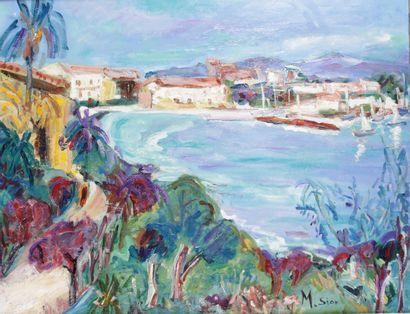 MARIE SION (1956-) La maison surplombant...