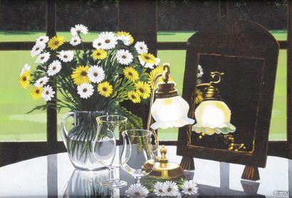 JORDI VALESCRIU (1928-) Nature morte au bouquet...