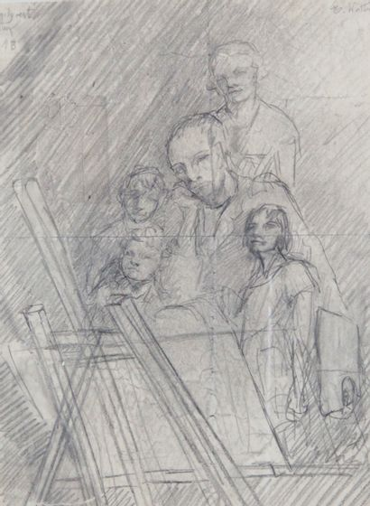 MARTHA WALTER (1875-1976) Peintre à son chevet,...