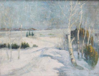 ANDRÉ LAPINE (1866-1952) Paysage de neige...