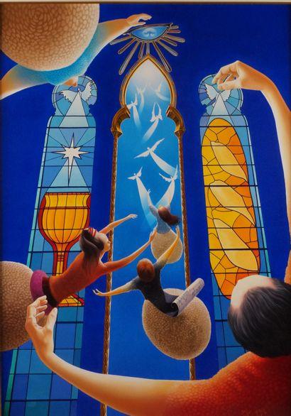 DANIEL HUBÈRE (1953-) La prière, 2007 Acrylique...