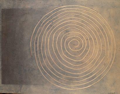 GÉRARD AUDIAS (1949-) Spirale sur fond bleu...