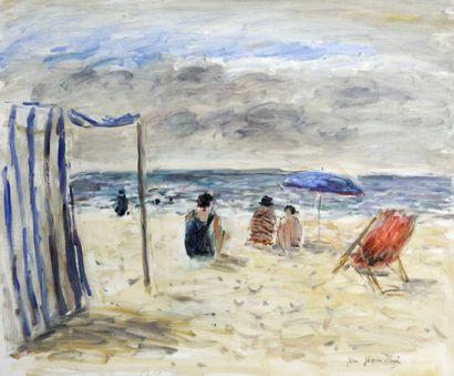 JEAN-JACQUES RENE (1943-) Scène de plage...