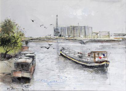 MICHEL JOUENNE (1933-) Péniches sur la Seine...