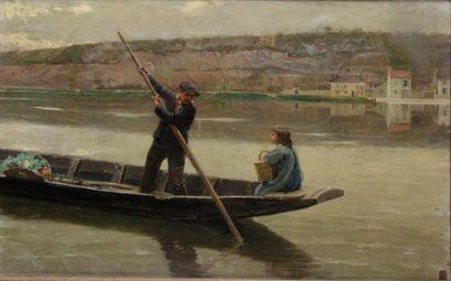 LOUIS-ÉMILE ADAN (1839-1937) Le passeur Huile...