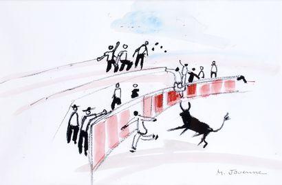 MICHEL JOUENNE (1933-) La corrida Lithographie...