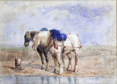 ÉMILE SAINT-MARCEL (1840-1914) Plow horses Watercolour Signed lower right