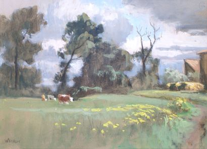 ÉMILE WEGELIN (1875-1962) Cows in the Meadow Watercolour and gouache Signed lower...