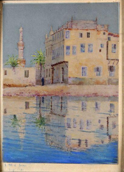 TONY BINDER (1868-1944) Le Nil à Louxor Aquarelle...
