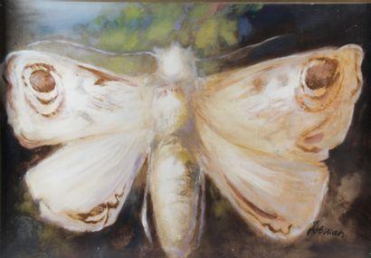 ALBERT DEMAN (1929-1996) Le papillon Huile...