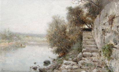 ADOLPHE APPIAN (1818-1898) Barque et mouette...