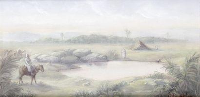 PAUL PASCAL (1832-1903) Cavalier près de...