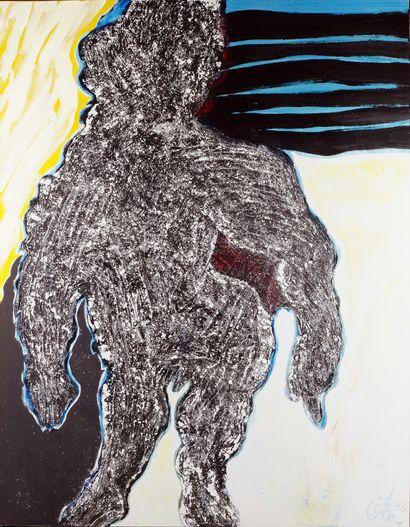 HENRI REN (1930-) L'homme gris, 1990 Huile...