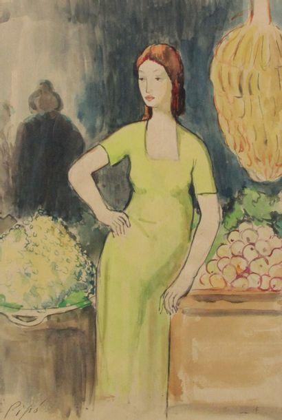 RUIZ PIPO (1929-1999) Femme en pied Aquarelle...