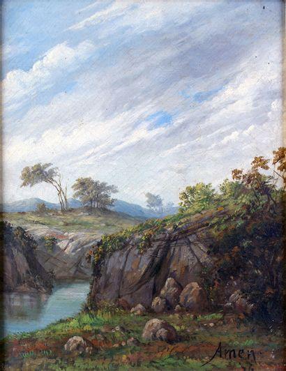 JEANNE AMEN (1863-1923) La rivière, 1876...