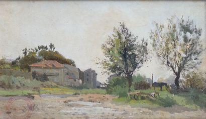 EDMOND PETITJEAN (1844-1925) L'entrée du...