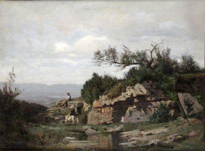 NATHANAEL LEMAÎTRE (1830-1897) Le chevrier Huile sur toile Signé en bas à gauche...