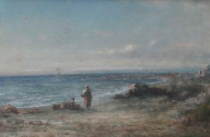PAUL PASCAL (1832-1903) Paysage animé, bord...