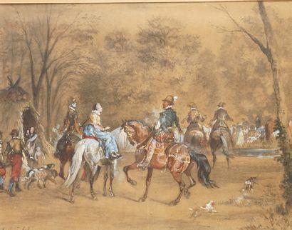 OTHON QUINCHEY (1820-1876) La chasse à courre...