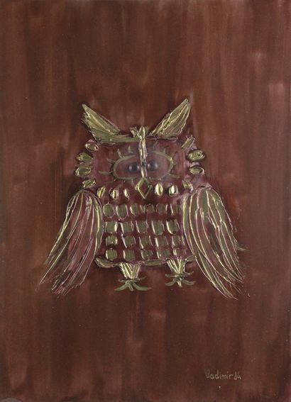VLADIMIR (XXÈME SIÈCLE) Le hibou, 1984 Aquarelle...
