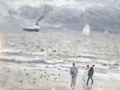 JEAN-JACQUES RENE (1943-) La mer à Ostende...