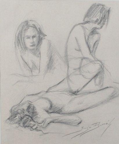 JORGE BORRAS (1952-) Les jeunes femmes Fusain...