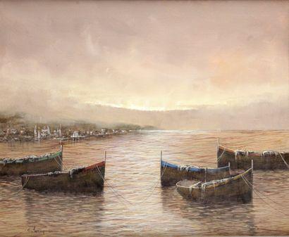 ALFERIO MAUGERI (1933-) Barques au bord du...
