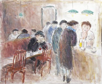 JEAN-JACQUES RENÉ (1943-) Soir au café Huile...