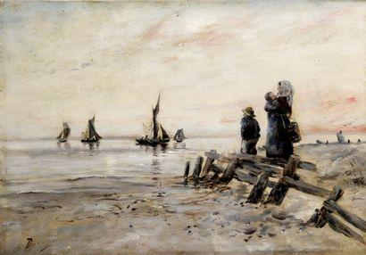 HENRI DUVIEUX (1855-1902) L'attente sur la...